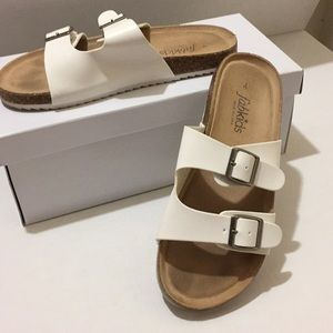 Fab kids white double strap buckle sandals